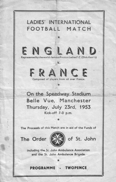 Dick, Kerr v France programme 1953